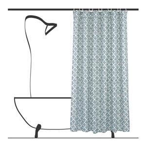 Ensemble de rideau de douche géometrique, 14 mcx, sarcelle
