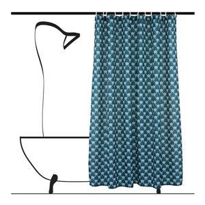 Ensemble de rideau de douche géometrique, 14 mcx, bleu/gris