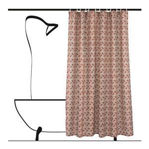 Ensemble de rideau de douche chevron, 14 mcx, rouge/beige