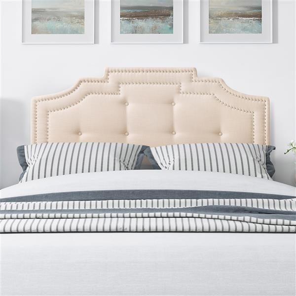 CorLiving Headboard with Button Tufting- Cream- Queen