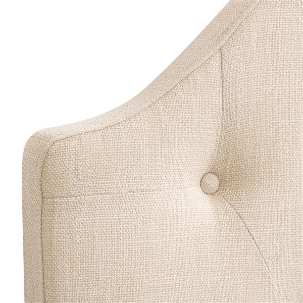 CorLiving Tufted Fabric Arched Panel Headboard-Cream -Double