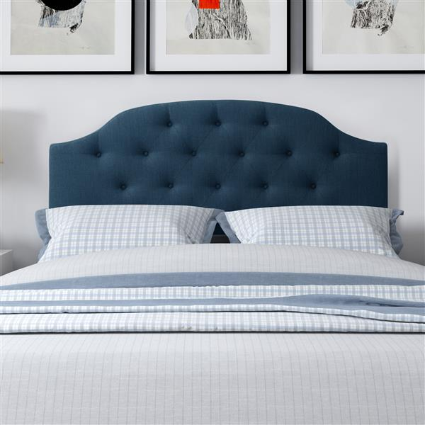 CorLiving Tufted Fabric Panel Headboard -Navy Blue- Queen