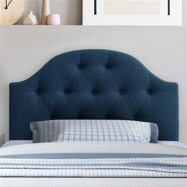 CorLiving Tufted Fabric Panel Headboard -Navy Blue- Single