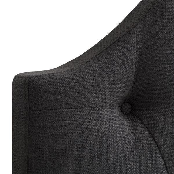 CorLiving Tufted Fabric Panel Headboard - Dark Grey - Double