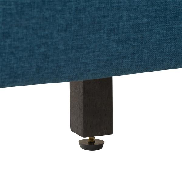 CorLiving Wide-Rectangle Panel Bed - Ocean Blue Fabric - Double