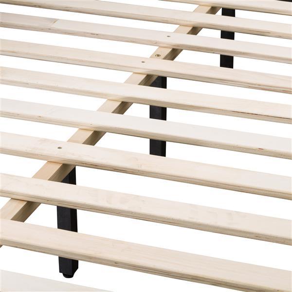 CorLiving Wide-Rectangle Panel Bed - Ocean Blue Fabric - Queen