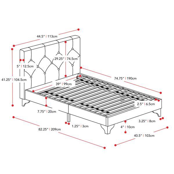 CorLiving Diamond Button-Tufted Bed -Cream Fabric - Twin/Single