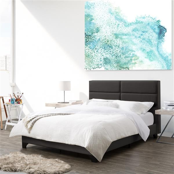 CorLiving Dark Grey Fabric Wide-Rectangle Panel Bed, Double