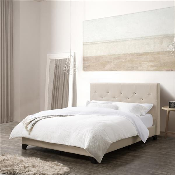 CorLiving Diamond Button-Tufted Bed -  Cream Fabric  -Double/Full