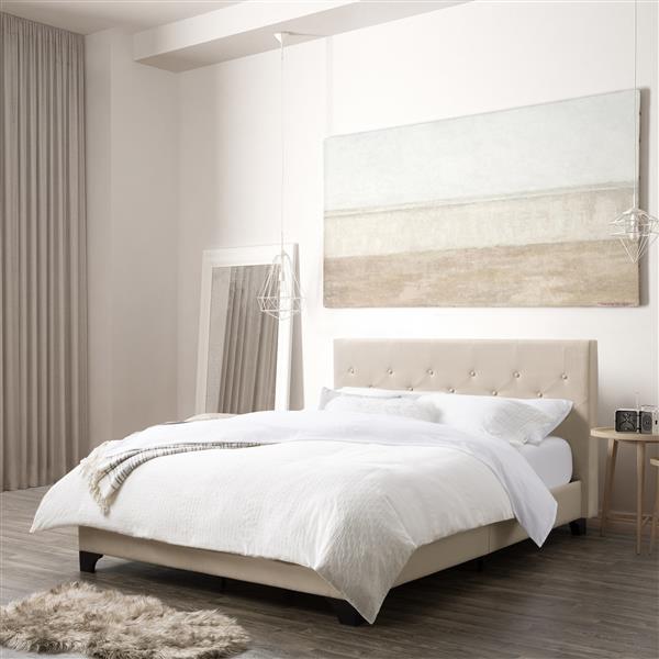 CorLiving Diamond Button-Tufted Bed -  Cream Fabric - Queen
