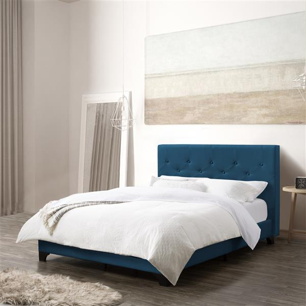 CorLiving ButtonTufted Bed - Ocean Blue Fabric - Double/Full