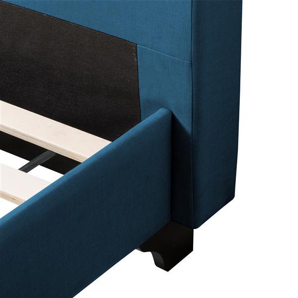 CorLiving ButtonTufted Bed - Ocean Blue Fabric - Queen