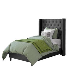 Lit et tête de lit avec côtés capitonnés, gris foncé, simple
