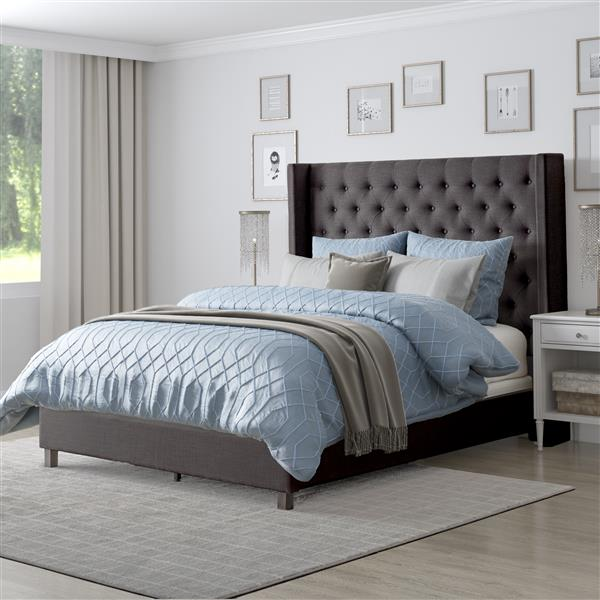CorLiving Tufted Fabric Bed with Wings - Dark Grey - Double