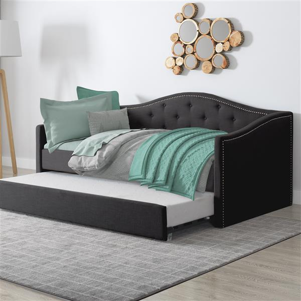 CorLiving Day Bed with Trundle - Dark Grey Fabric - Twin/Single