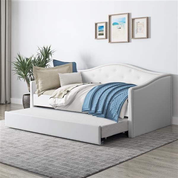CorLiving Day Bed with Trundle - White Leatherette - Single