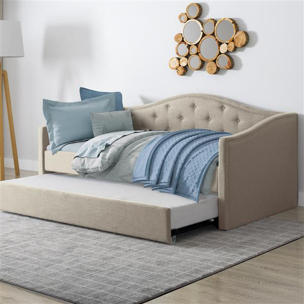 CorLiving Day Bed with Trundle -Beige Fabric - Single