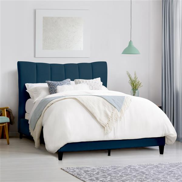 CorLiving Vertical Channel-Tufted King Bed - Navy Blue Fabric - Queen