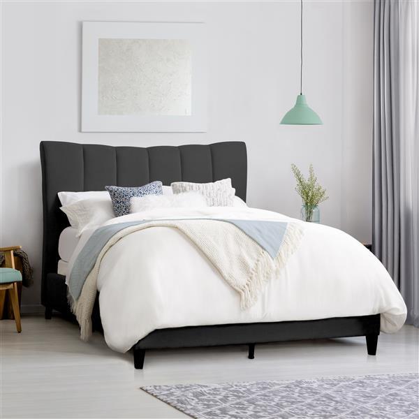 Cadre de lit au capitonnage vertical gris foncé, grand lit