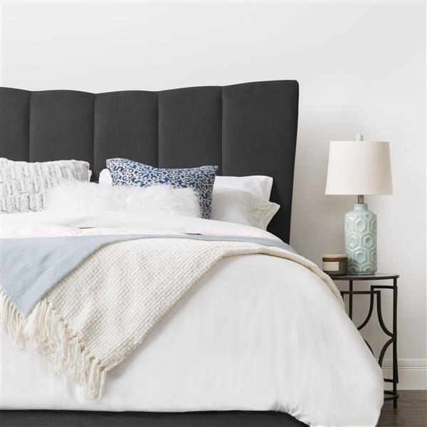 CorLiving Dark Grey Fabric Vertical Channel-Tufted Queen Bed
