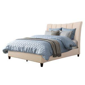 Cadre de lit au capitonnage vertical en crème, grand lit