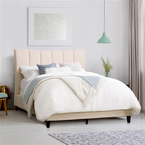 CorLiving Vertical Channel-Tufted King Bed - Cream Fabric - Double