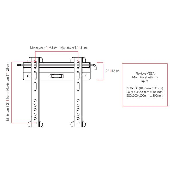 """CorLiving Fixed Low Profile Wall Mount for 18"""" - 32"""" TVs"""