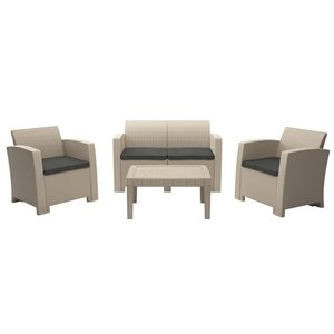 CorLiving All-Weather Conversation Set - Beige/Dark Grey - 4pc