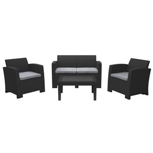 CorLiving All-Weather Conversation Set - Black/Grey - 4pc