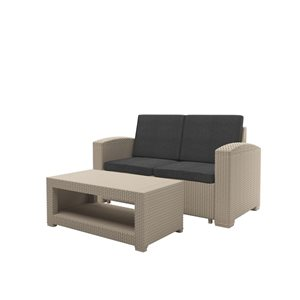 CorLiving All-Weather Loveseat Patio Set - Beige - 2-piece