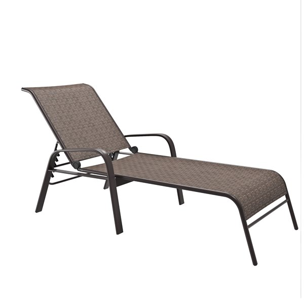 CorLiving Reclining Patio Loungers, Brown - Set of 2