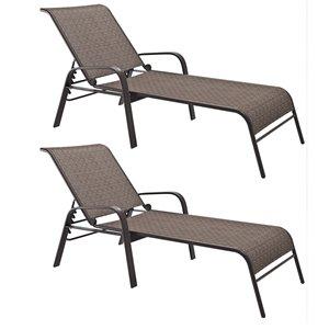 Chaises longues inclinables, brune, ensemble de 2