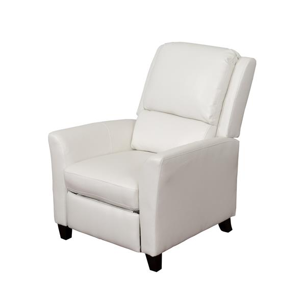 CorLiving Kate Bonded Leather Recliner - White