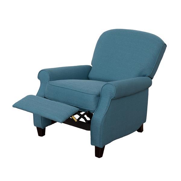 CorLiving Noah Linen Fabric Recliner - Blue