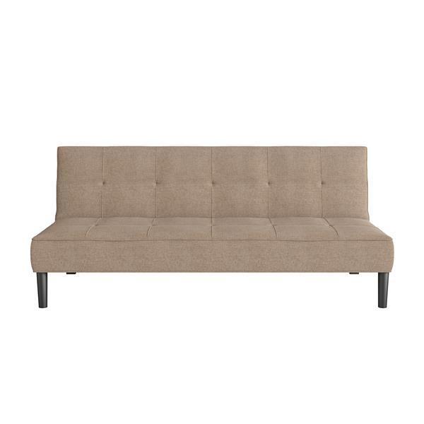 Divan-lit avec matelas texturé, beige cannelle