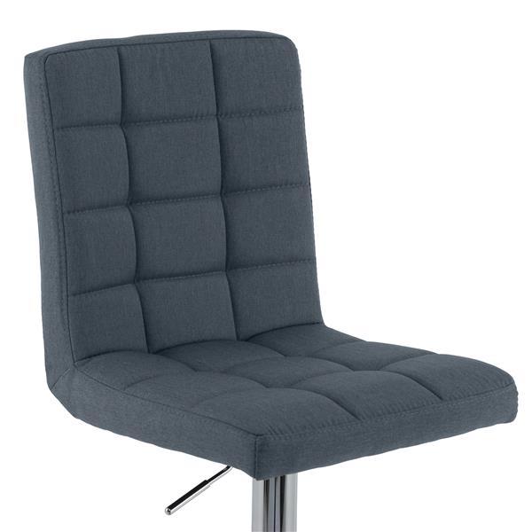 CorLiving Adjustable Barstool - Blue-Grey Fabric - Set of 2