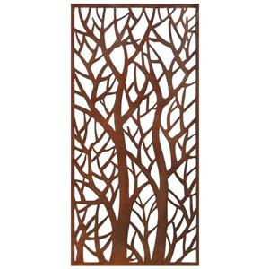 Forest Aluminum Privacy Screen/Wall Art - Brown