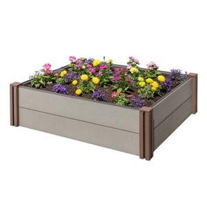 Lit de jardin modulaire en plastique et bois composite, gris