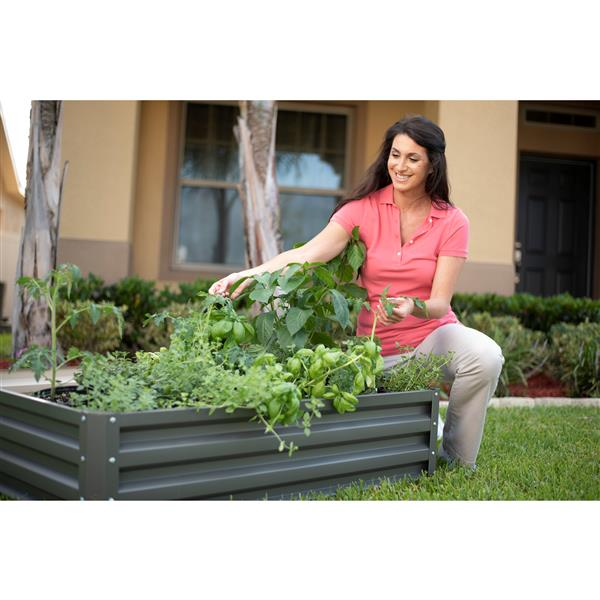 Stratco Aluminum Raised Garden Bed - Slate Gray