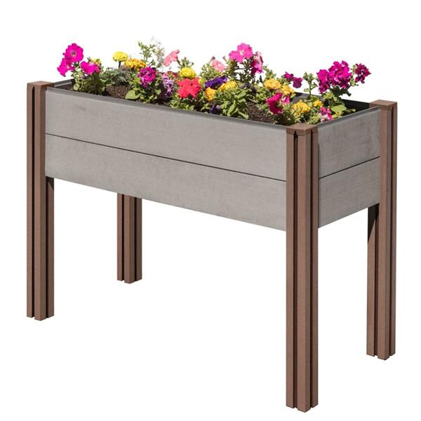 Stratco Elevated Garden Bed - Wood and Plastic - Grey
