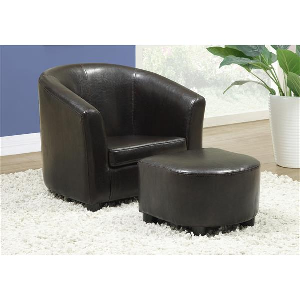 Monarch Kids Faux Leather Chair Set - 2 Pieces - Dark Brown