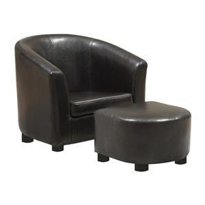 Chaise et pouf pour enfant, faux cuir, 2 mcx, brun foncé