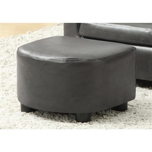 Monarch Kids Faux Leather Chair Set - 2 Pieces - Charcoal Grey