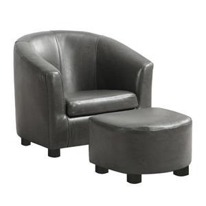 Chaise et pouf en faux cuir pour enfants, 2 mcx, charbon