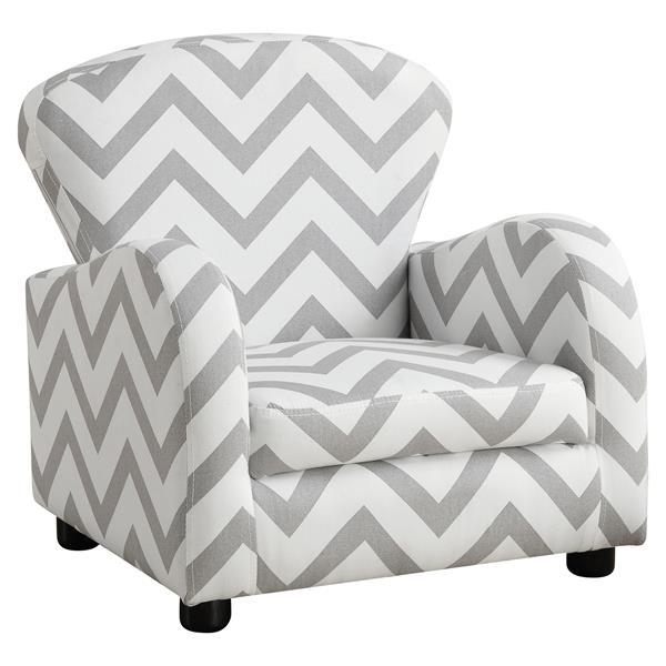 Monarch Kids Chevron Fabric Chair - Grey