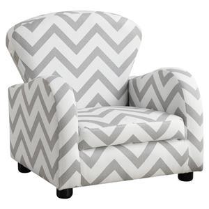 Chaise en tissu à motif chevron pour enfants, gris