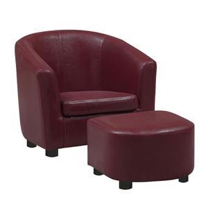 Chaise et pouf en faux cuir pour enfants, 2 mcx, rouge