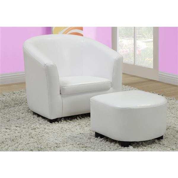 Chaise et pouf en faux cuir pour enfants, 2 mcx, blanc
