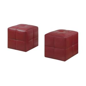 Monarch Kids Faux Leather Ottoman Set  - 2 Pieces - Red