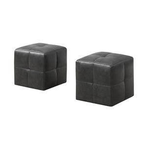 Monarch Kids Faux Leather Ottoman Set - 2 Pieces - Charcoal Grey